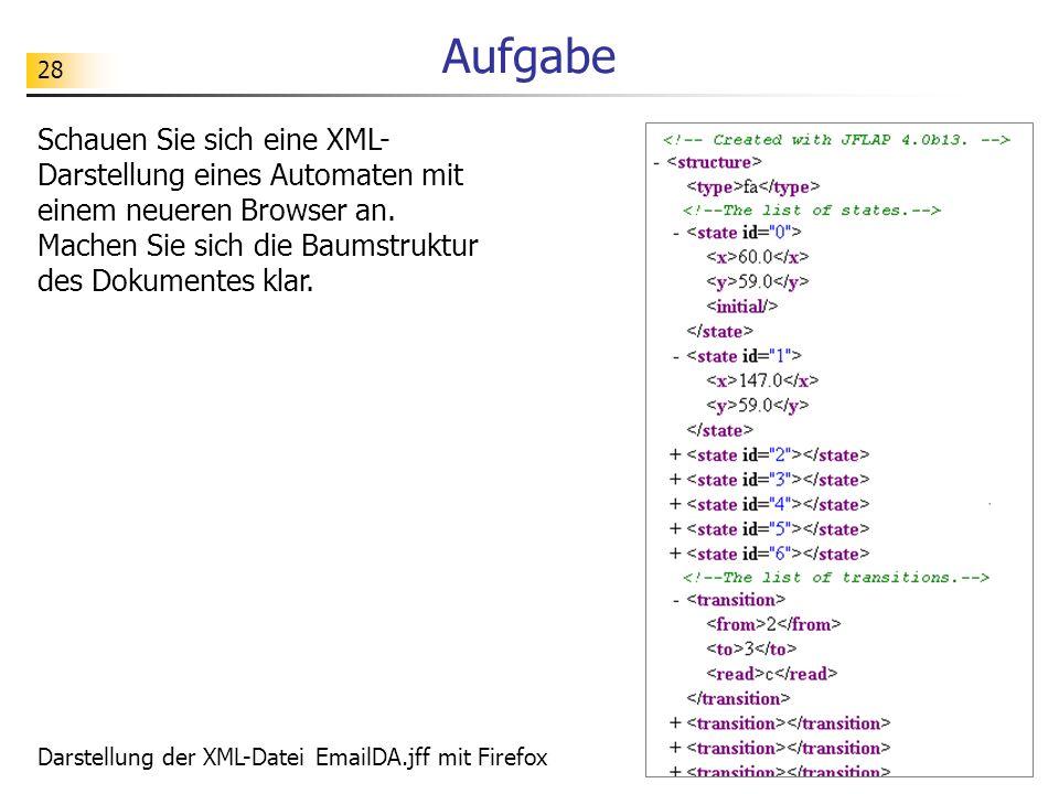 28 Aufgabe Schauen Sie sich eine XML- Darstellung eines Automaten mit einem neueren Browser an. Machen Sie sich die Baumstruktur des Dokumentes klar.