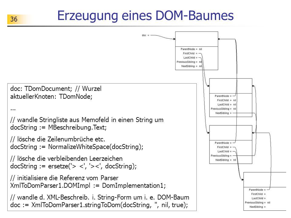 36 Erzeugung eines DOM-Baumes doc: TDomDocument; // Wurzel aktuellerKnoten: TDomNode;... // wandle Stringliste aus Memofeld in einen String um docStri