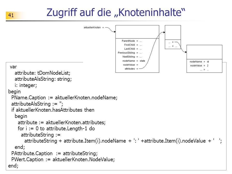41 Zugriff auf die Knoteninhalte var attribute: tDomNodeList; attributeAlsString: string; i: integer; begin PName.Caption := aktuellerKnoten.nodeName;