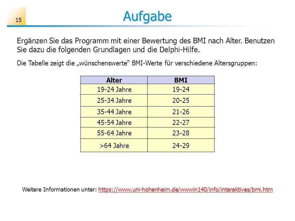 Aufgabe Ergänzen Sie das Programm mit einer Bewertung des BMI nach Alter. Benutzen Sie dazu die folgenden Grundlagen und die Delphi-Hilfe. AlterBMI 19