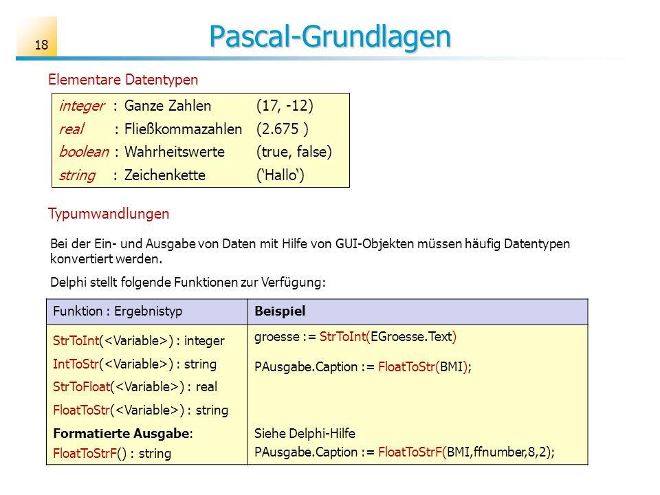 Pascal-Grundlagen Elementare Datentypen integer :Ganze Zahlen(17, -12) real :Fließkommazahlen(2.675 ) boolean : Wahrheitswerte(true, false) string : Zeichenkette (Hallo) Bei der Ein- und Ausgabe von Daten mit Hilfe von GUI-Objekten müssen häufig Datentypen konvertiert werden.