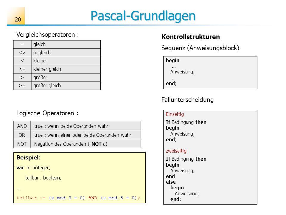 Pascal-Grundlagen =gleich <>ungleich <kleiner <=kleiner gleich >größer >=größer gleich Vergleichsoperatoren : Logische Operatoren : AND true : wenn be