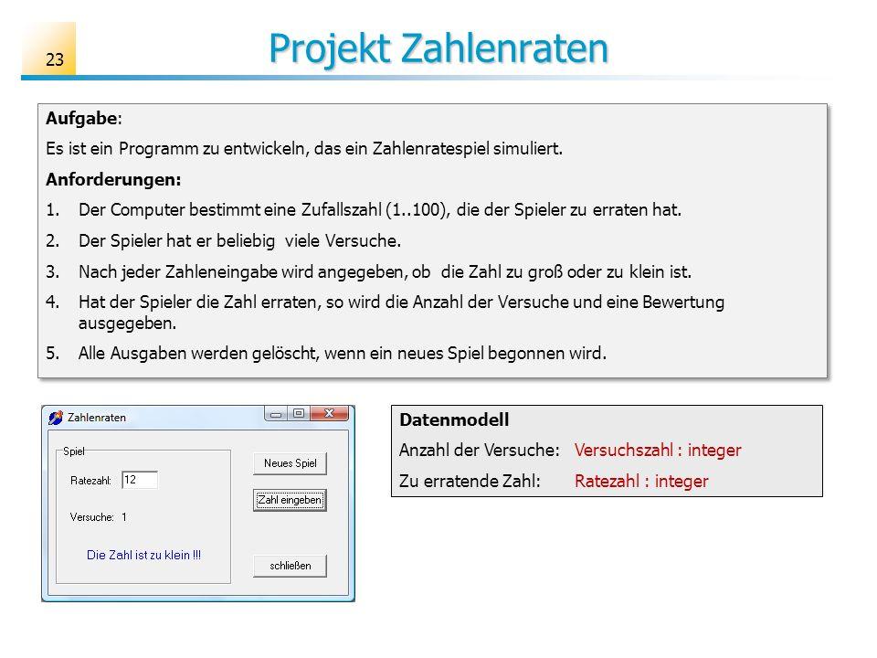 Projekt Zahlenraten Aufgabe: Es ist ein Programm zu entwickeln, das ein Zahlenratespiel simuliert. Anforderungen: 1.Der Computer bestimmt eine Zufalls