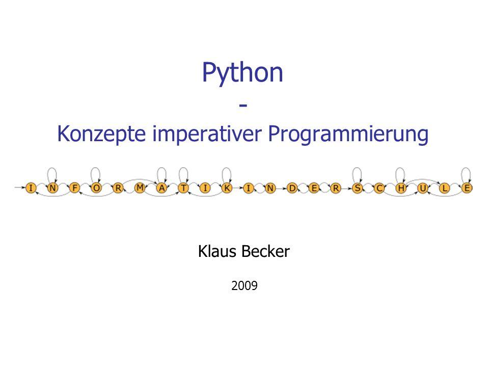 12 Materialien Internet: Python Official Website http://www.python.org/ Python-Tutorium von Guido van Rossum: http://starship.python.net/crew/gherman/publications/tut-de/tut-de-21.pdf http://starship.python.net/crew/gherman/publications/tut-de/online/tut/ offenes eBook von von Peter Kaiser und Johannes Ernesti (Python 2.5): http://openbook.galileocomputing.de/python/?GalileoSession=10541258A3Vg6VBUX8A PythonWiki: http://wiki.python.de/ Python-Kurs von W.Spiegel: http://www.wspiegel.de/pykurs/pykurs.htm Python, Programmieren macht Spaß : http://www.thomas-guettler.de/vortraege/python/einfuehrung.html BICS: http://schule.de/bics/inf2/programmiersprachen/python/ Unterrichtsmaterialien von Klaus Merkert: http://www.hsg-kl.de/faecher/inf/python/index.php Unterrichtsmaterialien auf www.inf-schule.de
