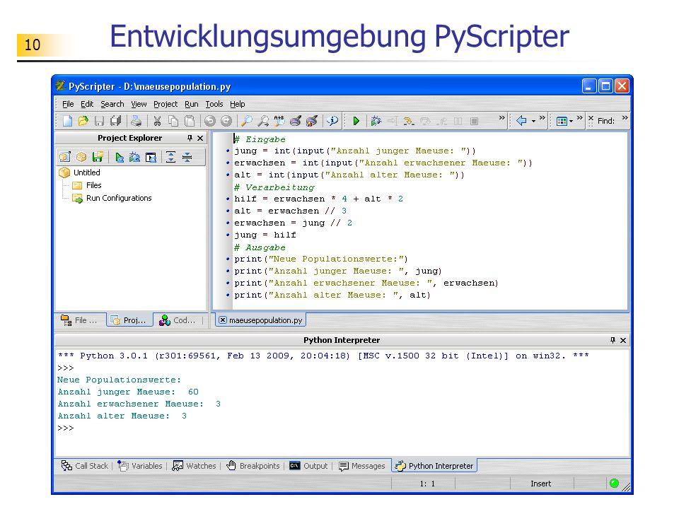 10 Entwicklungsumgebung PyScripter