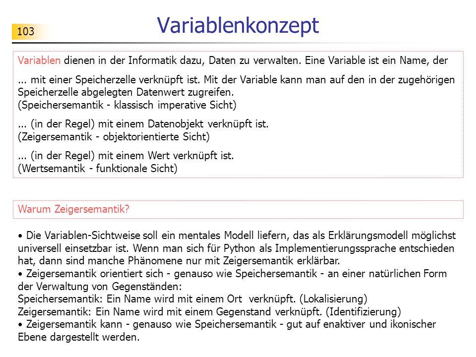 103 Variablenkonzept Variablen dienen in der Informatik dazu, Daten zu verwalten. Eine Variable ist ein Name, der... mit einer Speicherzelle verknüpft