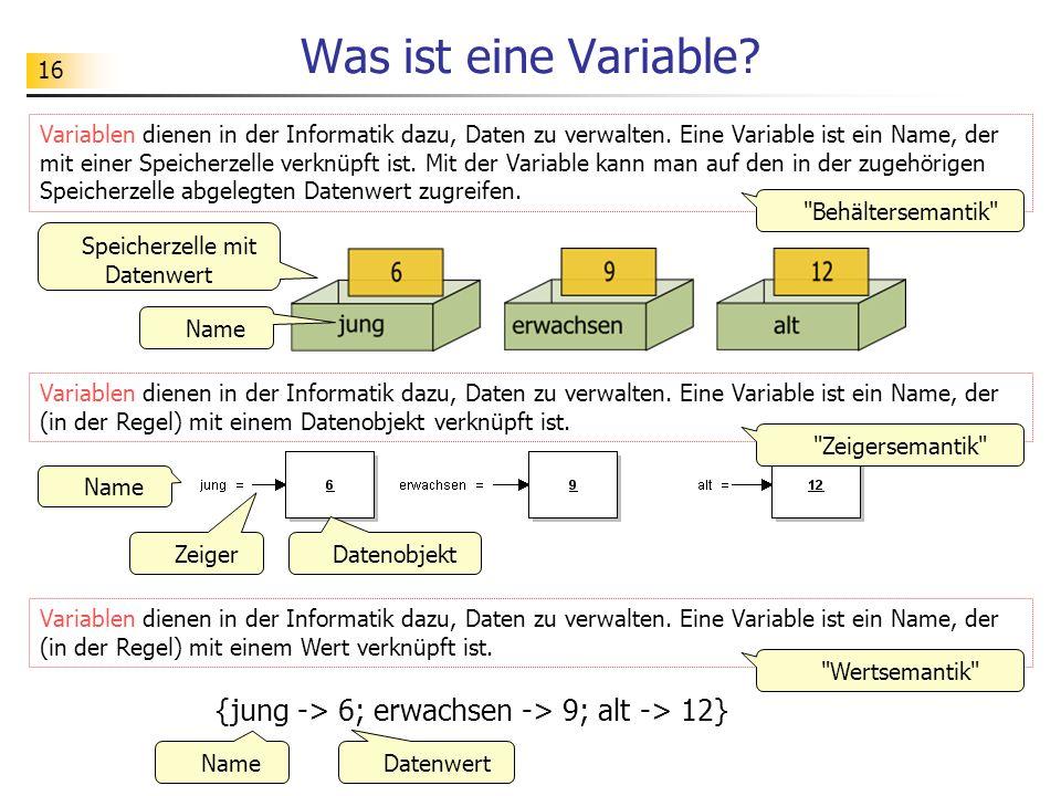 16 Was ist eine Variable? Variablen dienen in der Informatik dazu, Daten zu verwalten. Eine Variable ist ein Name, der mit einer Speicherzelle verknüp
