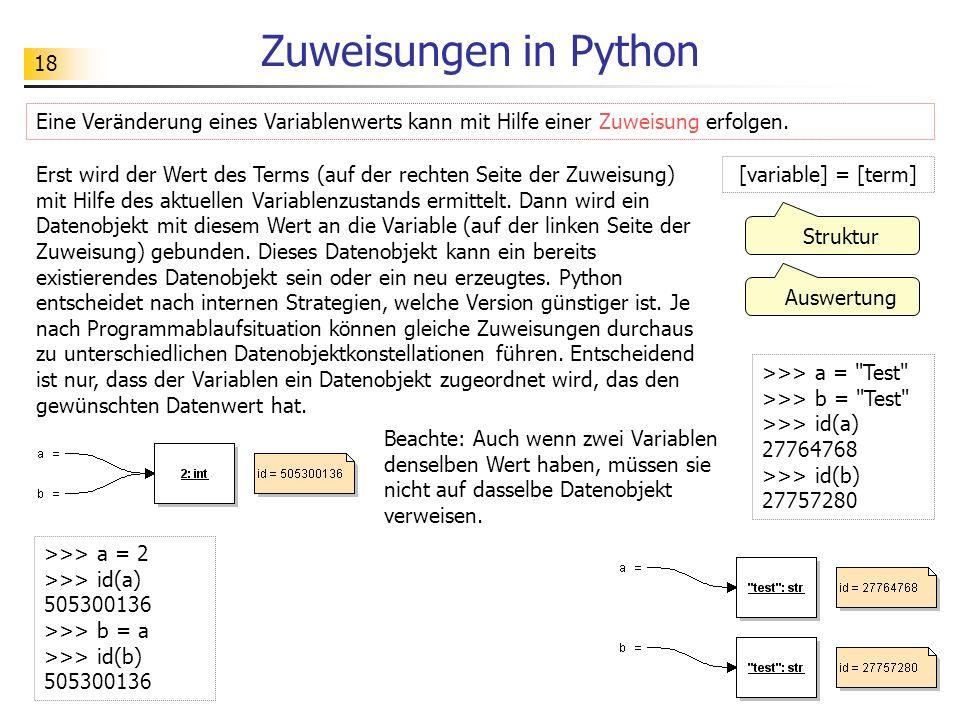 18 Zuweisungen in Python Eine Veränderung eines Variablenwerts kann mit Hilfe einer Zuweisung erfolgen. >>> a = 2 >>> id(a) 505300136 >>> b = a >>> id