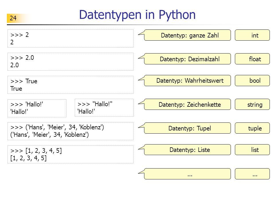 24 Datentypen in Python >>> 2 2 Datentyp: ganze Zahlint >>> 2.0 2.0 >>> True True >>> 'Hallo!' 'Hallo!' >>> ('Hans', 'Meier', 34, 'Koblenz') ('Hans',