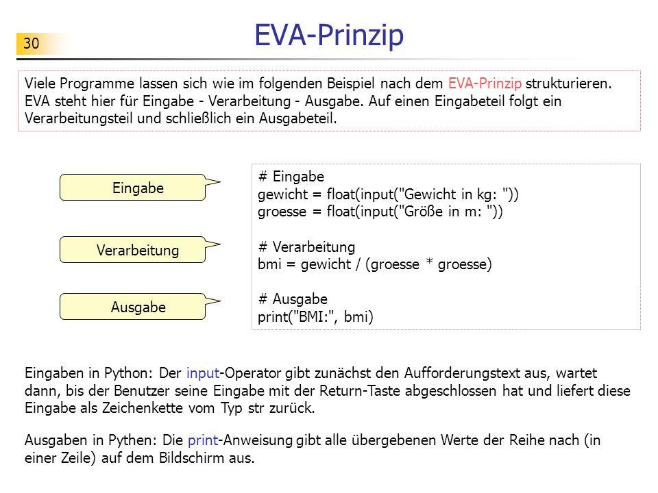 30 EVA-Prinzip # Eingabe gewicht = float(input(