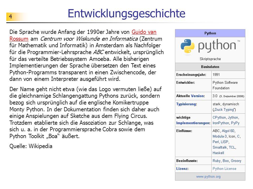 4 Entwicklungsgeschichte Die Sprache wurde Anfang der 1990er Jahre von Guido van Rossum am Centrum voor Wiskunde en Informatica (Zentrum für Mathemati
