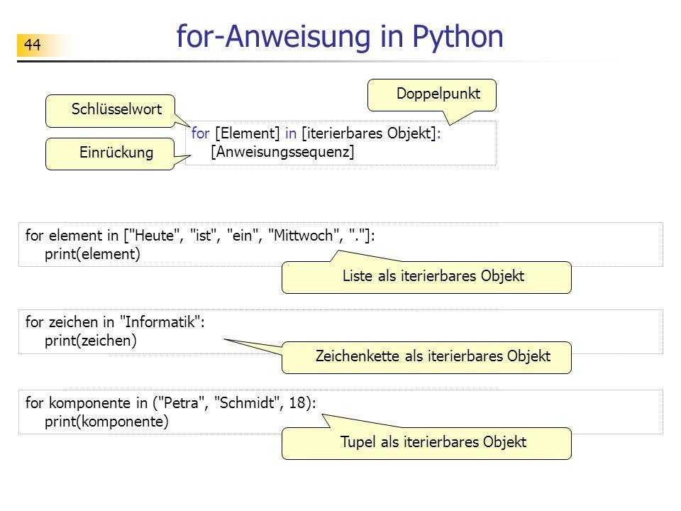 44 for-Anweisung in Python for [Element] in [iterierbares Objekt]: [Anweisungssequenz] Doppelpunkt Einrückung Schlüsselwort for element in [
