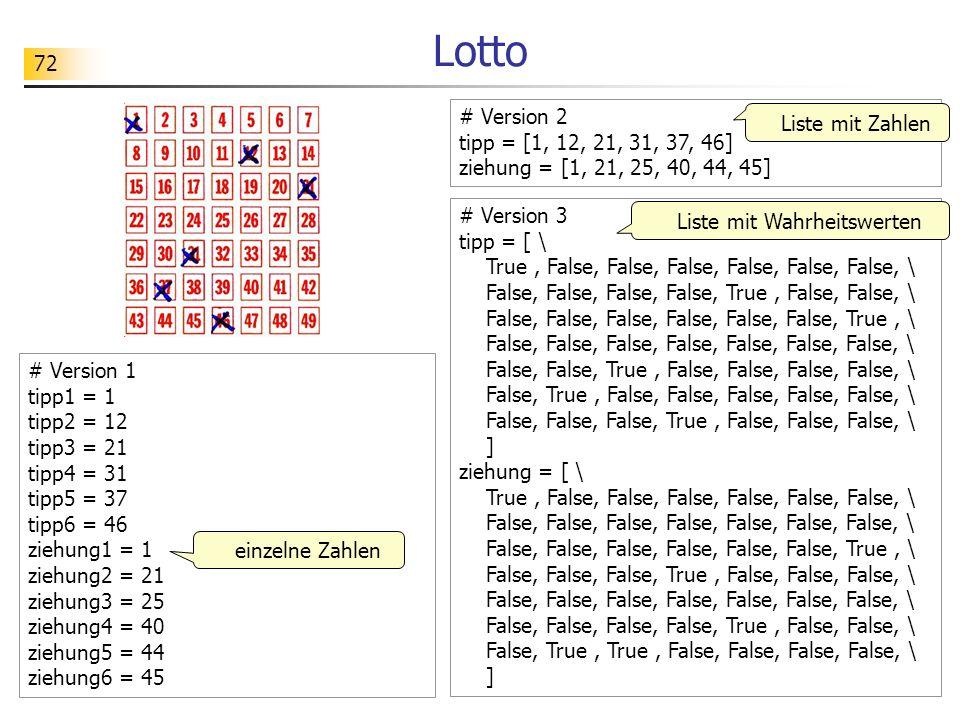 72 Lotto # Version 1 tipp1 = 1 tipp2 = 12 tipp3 = 21 tipp4 = 31 tipp5 = 37 tipp6 = 46 ziehung1 = 1 ziehung2 = 21 ziehung3 = 25 ziehung4 = 40 ziehung5