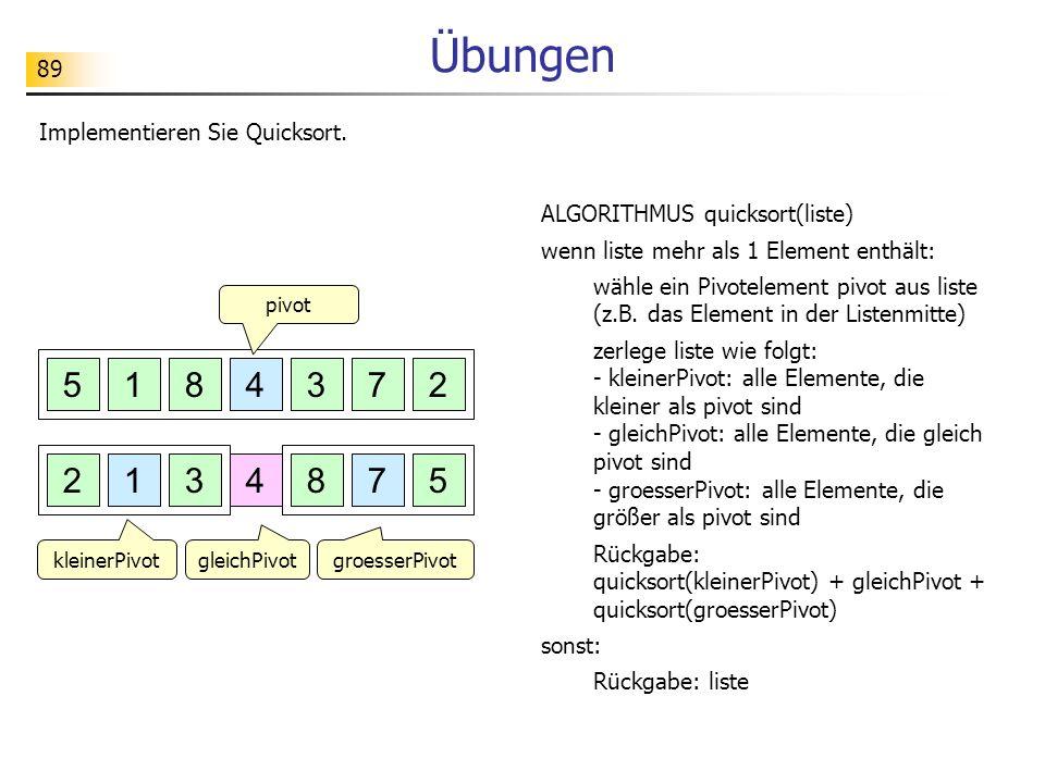 89 Übungen Implementieren Sie Quicksort. 5728314 5728314 pivot ALGORITHMUS quicksort(liste) wenn liste mehr als 1 Element enthält: wähle ein Pivotelem