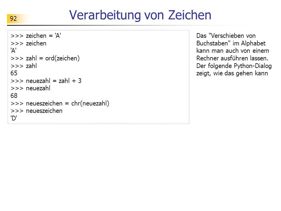 92 Verarbeitung von Zeichen >>> zeichen = 'A' >>> zeichen 'A' >>> zahl = ord(zeichen) >>> zahl 65 >>> neuezahl = zahl + 3 >>> neuezahl 68 >>> neueszei
