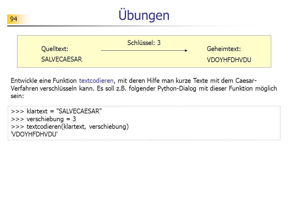 94 Übungen Entwickle eine Funktion textcodieren, mit deren Hilfe man kurze Texte mit dem Caesar- Verfahren verschlüsseln kann. Es soll z.B. folgender