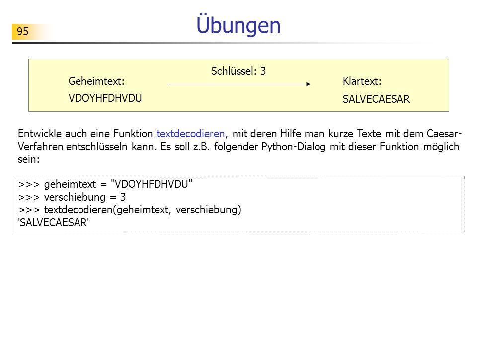 95 Übungen Entwickle auch eine Funktion textdecodieren, mit deren Hilfe man kurze Texte mit dem Caesar- Verfahren entschlüsseln kann. Es soll z.B. fol
