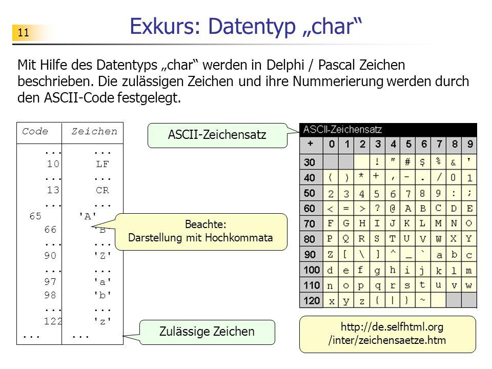 11 Exkurs: Datentyp char CodeZeichen...... 10LF...... 13CR...... 65'A' 66'B'...... 90'Z'...... 97'a' 98'b'...... 122'z'...... Mit Hilfe des Datentyps