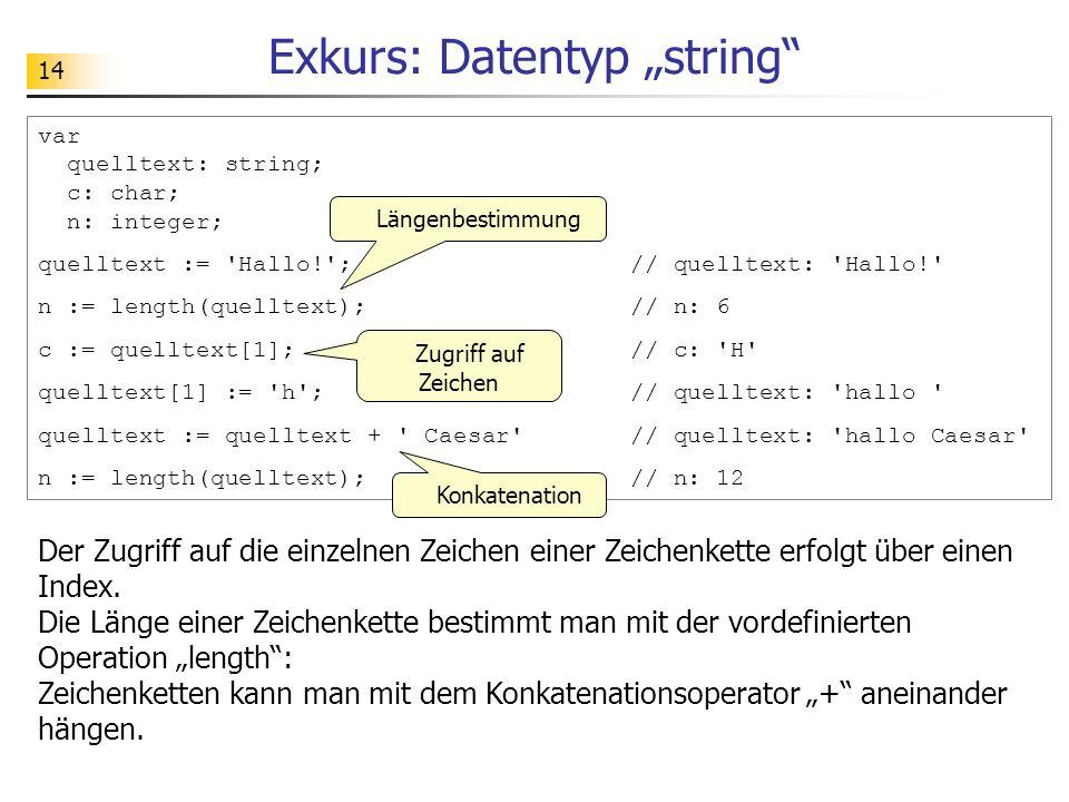 14 Exkurs: Datentyp string var quelltext: string; c: char; n: integer; quelltext := 'Hallo!'; // quelltext: 'Hallo!' n := length(quelltext); // n: 6 c