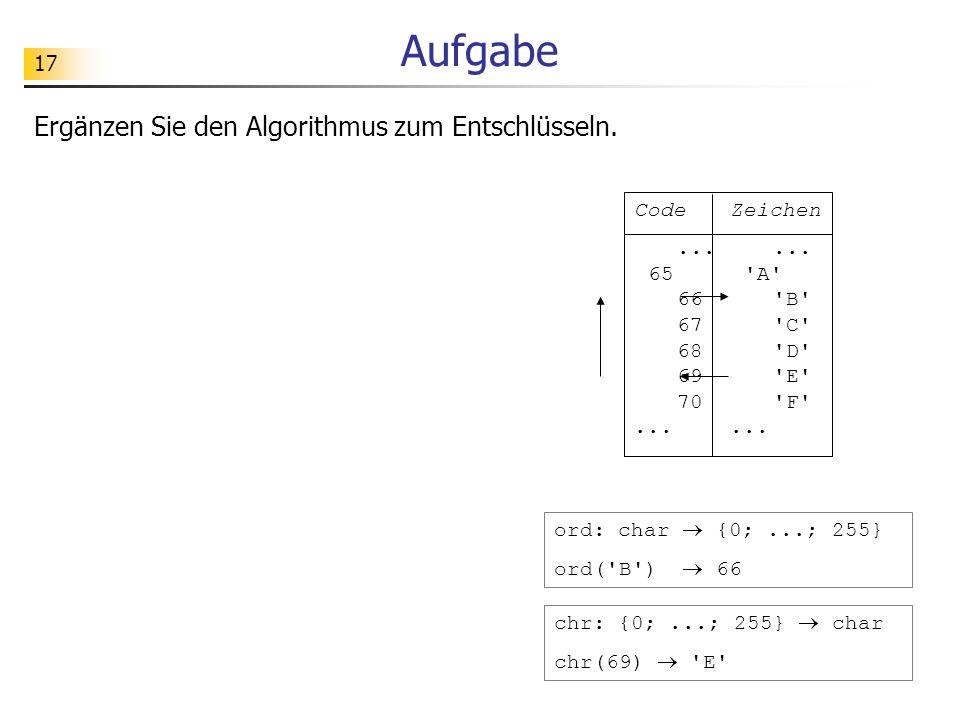 17 Aufgabe CodeZeichen...... 65'A' 66'B' 67'C' 68'D' 69'E' 70'F'...... ord: char {0;...; 255} ord('B') 66 chr: {0;...; 255} char chr(69) 'E' Ergänzen