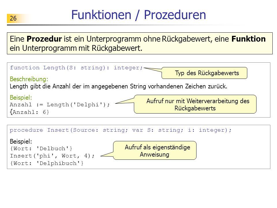 26 Funktionen / Prozeduren procedure Insert(Source: string; var S: string; i: integer); Beispiel: {Wort: 'Delbuch'} Insert('phi', Wort, 4); {Wort: 'De