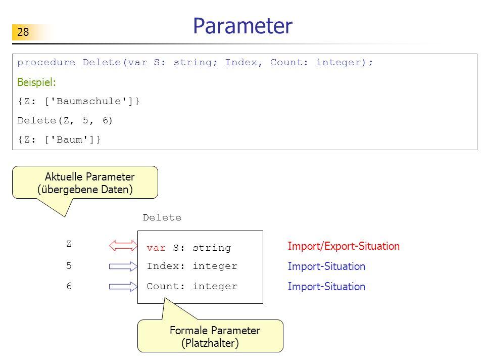 28 Parameter procedure Delete(var S: string; Index, Count: integer); Beispiel: {Z: ['Baumschule']} Delete(Z, 5, 6) {Z: ['Baum']} Aktuelle Parameter (ü