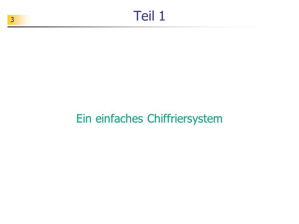 64 Aufgabe Ändern Sie das Chiffriersystem so ab, dass man beliebige Kodierungen vornehmen kann.