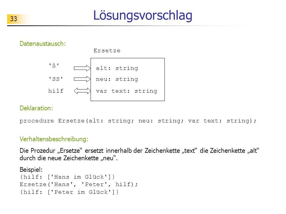 33 Lösungsvorschlag Ersetze alt: string neu: string var text: string 'ß' 'SS' hilf Datenaustausch: Verhaltensbeschreibung: Die Prozedur Ersetze ersetz