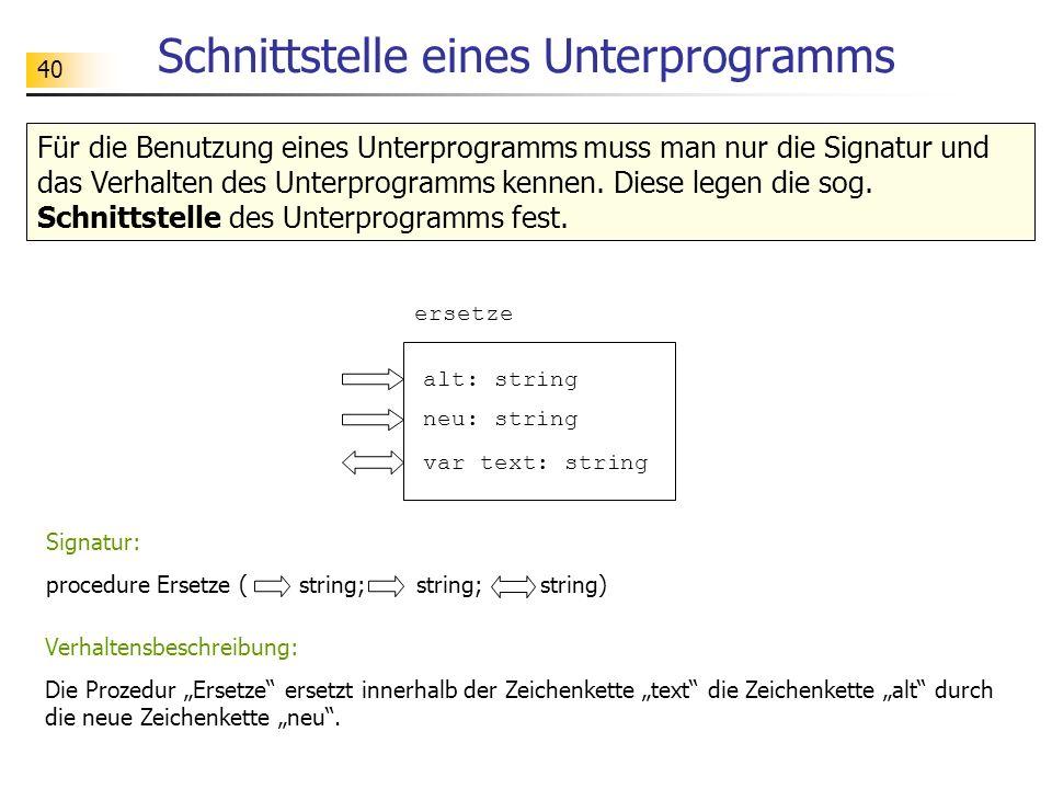 40 Schnittstelle eines Unterprogramms Für die Benutzung eines Unterprogramms muss man nur die Signatur und das Verhalten des Unterprogramms kennen. Di