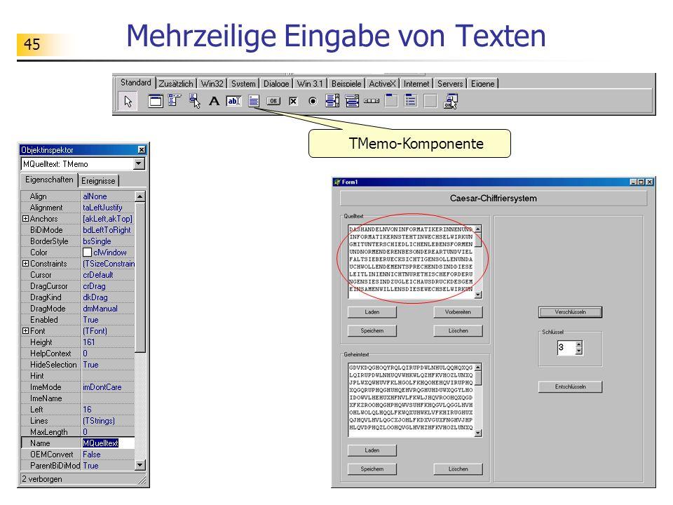 45 Mehrzeilige Eingabe von Texten TMemo-Komponente