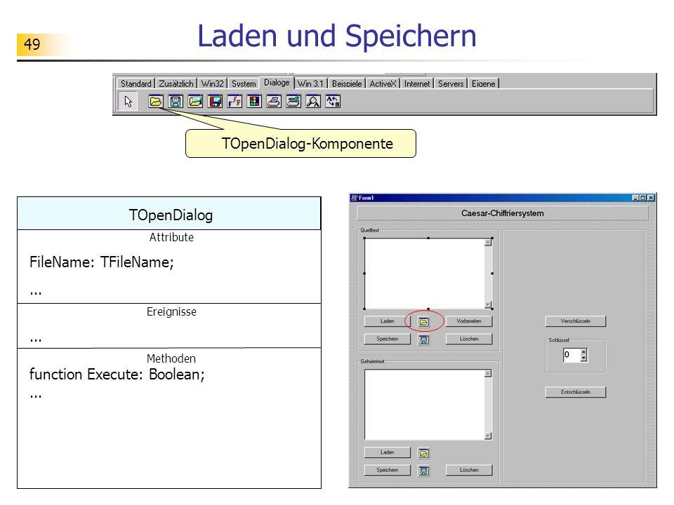 49 Laden und Speichern TOpenDialog-Komponente TOpenDialog Attribute FileName: TFileName;... Ereignisse... Methoden function Execute: Boolean;...