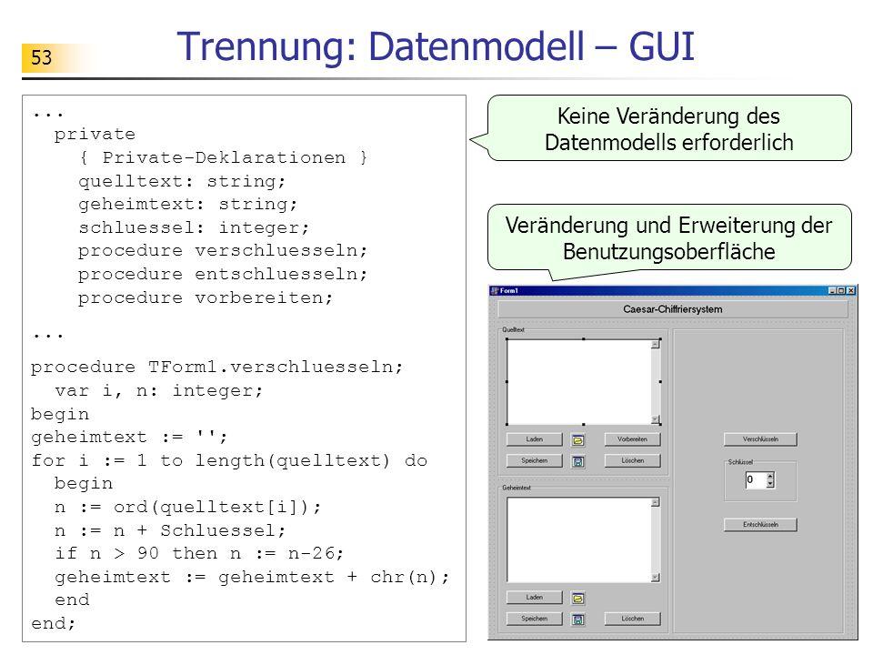53 Trennung: Datenmodell – GUI... private { Private-Deklarationen } quelltext: string; geheimtext: string; schluessel: integer; procedure verschluesse