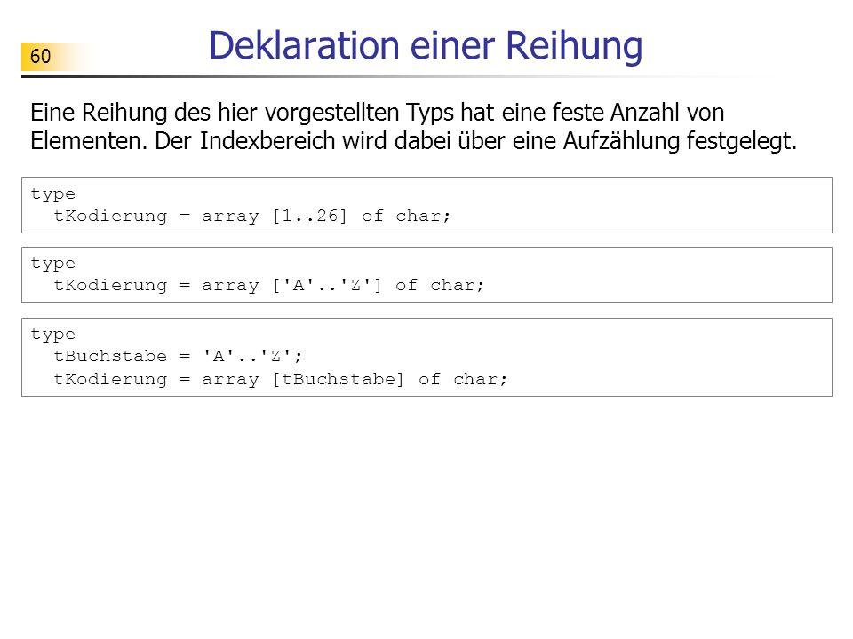 60 Deklaration einer Reihung type tKodierung = array [1..26] of char; type tBuchstabe = 'A'..'Z'; tKodierung = array [tBuchstabe] of char; Eine Reihun