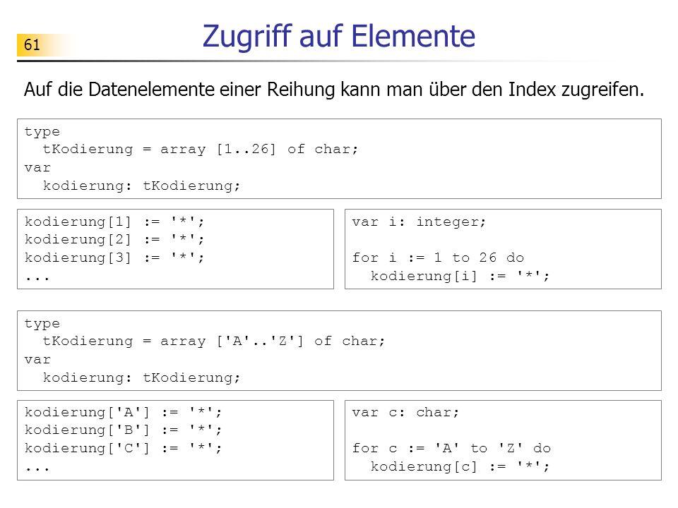 61 Zugriff auf Elemente type tKodierung = array [1..26] of char; var kodierung: tKodierung; Auf die Datenelemente einer Reihung kann man über den Inde