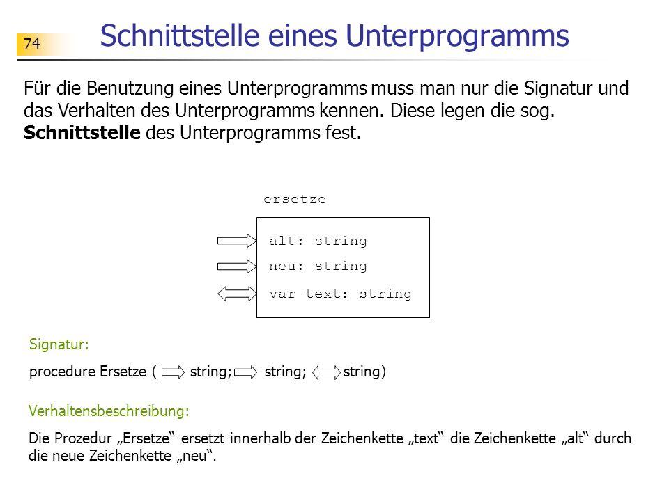 74 Schnittstelle eines Unterprogramms Für die Benutzung eines Unterprogramms muss man nur die Signatur und das Verhalten des Unterprogramms kennen. Di