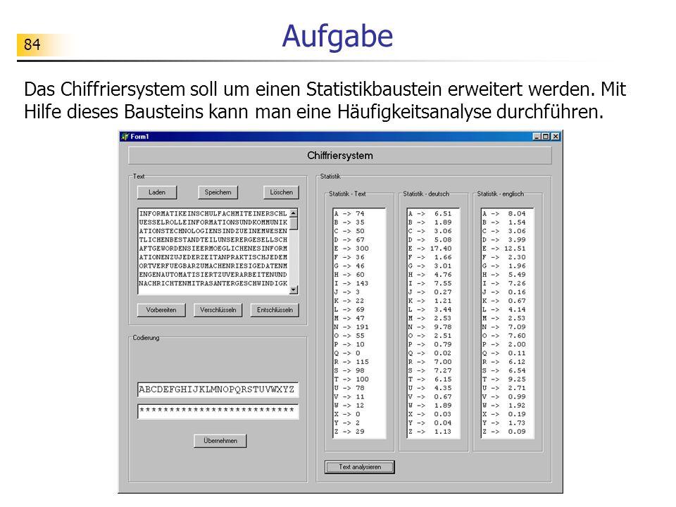84 Aufgabe Das Chiffriersystem soll um einen Statistikbaustein erweitert werden. Mit Hilfe dieses Bausteins kann man eine Häufigkeitsanalyse durchführ