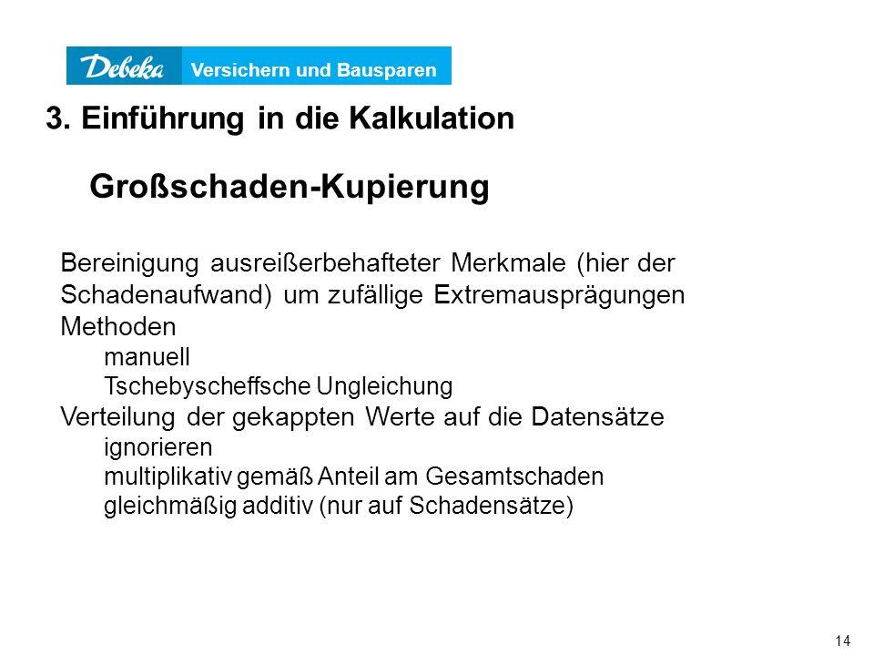 Versichern und Bausparen 14 3. Einführung in die Kalkulation Großschaden-Kupierung Bereinigung ausreißerbehafteter Merkmale (hier der Schadenaufwand)