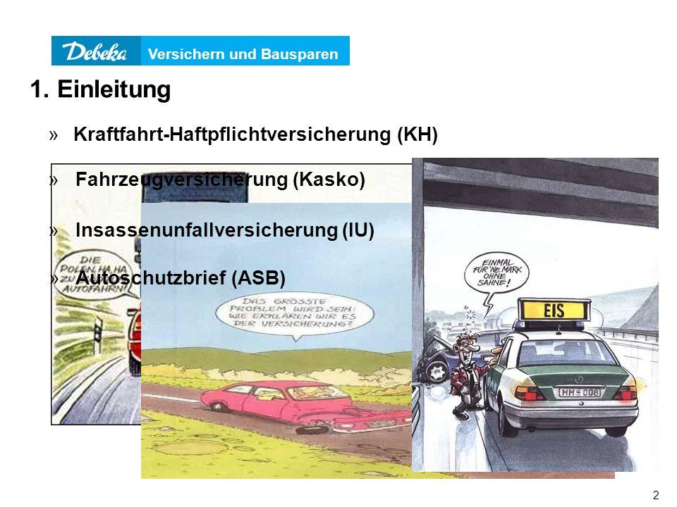 Versichern und Bausparen 2 1. Einleitung »Kraftfahrt-Haftpflichtversicherung (KH) » Fahrzeugversicherung (Kasko) » Insassenunfallversicherung (IU) » A