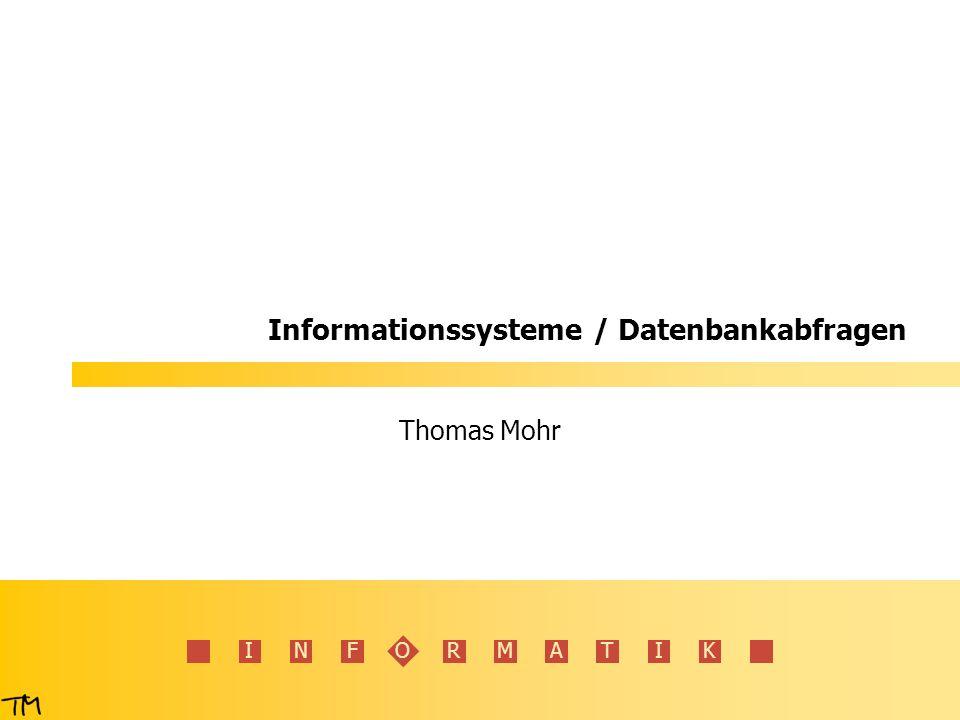 I N F O R M A T I K 42 SQL – einfache Joins 1.Cross-Join (jede Zeile mit jeder) SELECT * FROM Land, Kontinent LNRNameEinwohnerKNRKNRName DKDänemark5.16EUEUEuropa DKDänemark5.16EUASAsien DKDänemark5.16EUAFAfrika DDeutschland81.34EUEUEuropa DDeutschland81.34EUASAsien DDeutschland81.34EUAFAfrika INDIndien761.00ASEUEuropa INDIndien761.00ASASAsien INDIndien761.00ASAFAfrika …………… LNRNameEinwohnerKNR DKDänemark5.16EU DDeutschland81.34EU INDIndien761.00AS RWARwanda6.30AF Land KNRName EUEuropa ASAsien AFAfrika Kontinent