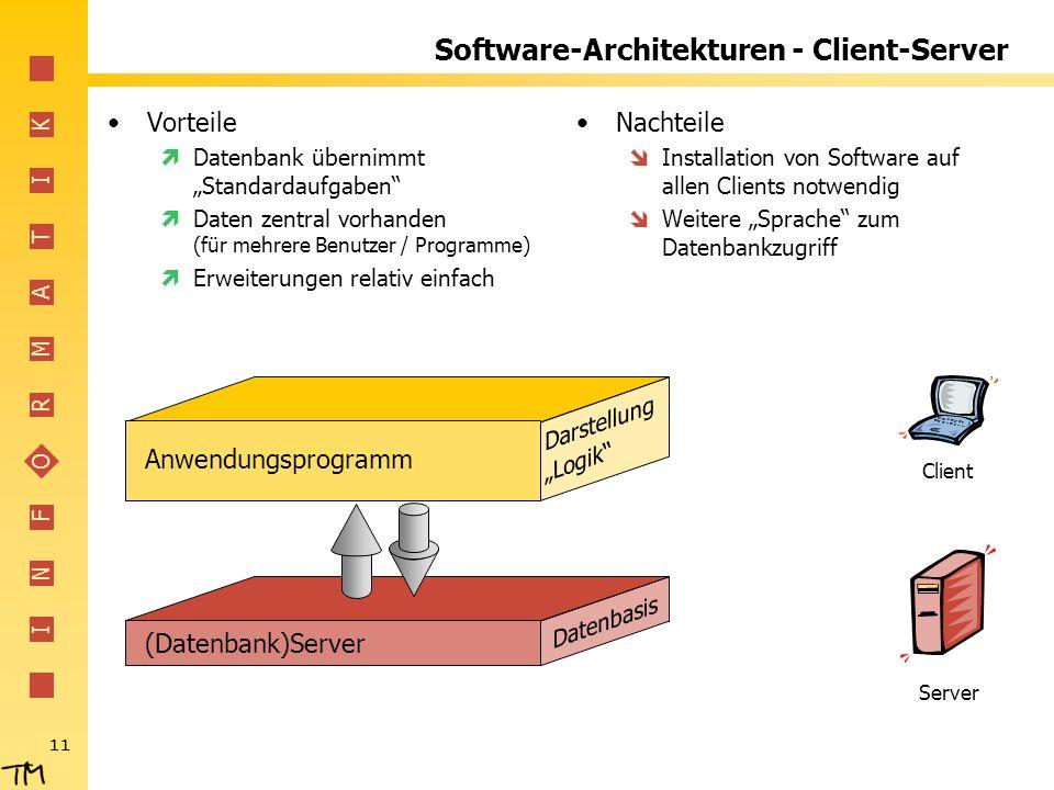 I N F O R M A T I K 11 (Datenbank)Server Datenbasis Software-Architekturen - Client-Server Vorteile Datenbank übernimmt Standardaufgaben Daten zentral