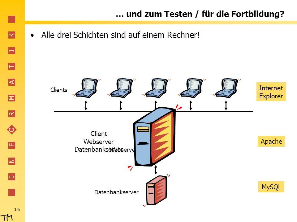 I N F O R M A T I K 16 … und zum Testen / für die Fortbildung? Alle drei Schichten sind auf einem Rechner! Datenbankserver Webserver Clients Internet