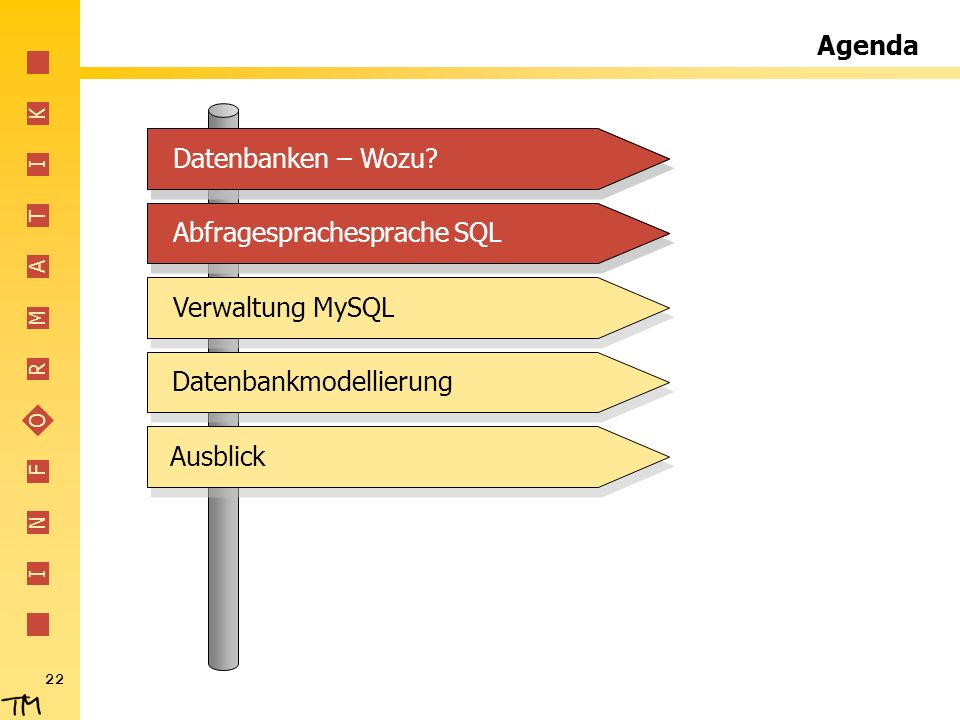I N F O R M A T I K 22 Agenda Abfragesprachesprache SQLVerwaltung MySQLDatenbankmodellierungDatenbanken – Wozu?Abfragesprachesprache SQLDatenbanken –