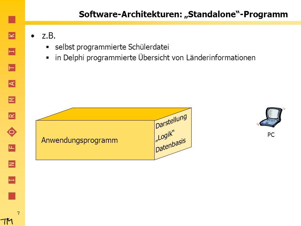 I N F O R M A T I K 8 Software-Architekturen: Standalone-Programm Vorteile Übersichtlichkeit (?) Schnell zu programmieren nur eine Programmiersprache Nachteile Daten meist nur vom erzeugenden Programm zu lesen Erweiterungen aufwändig Immer wieder gleiche Probleme (z.B.
