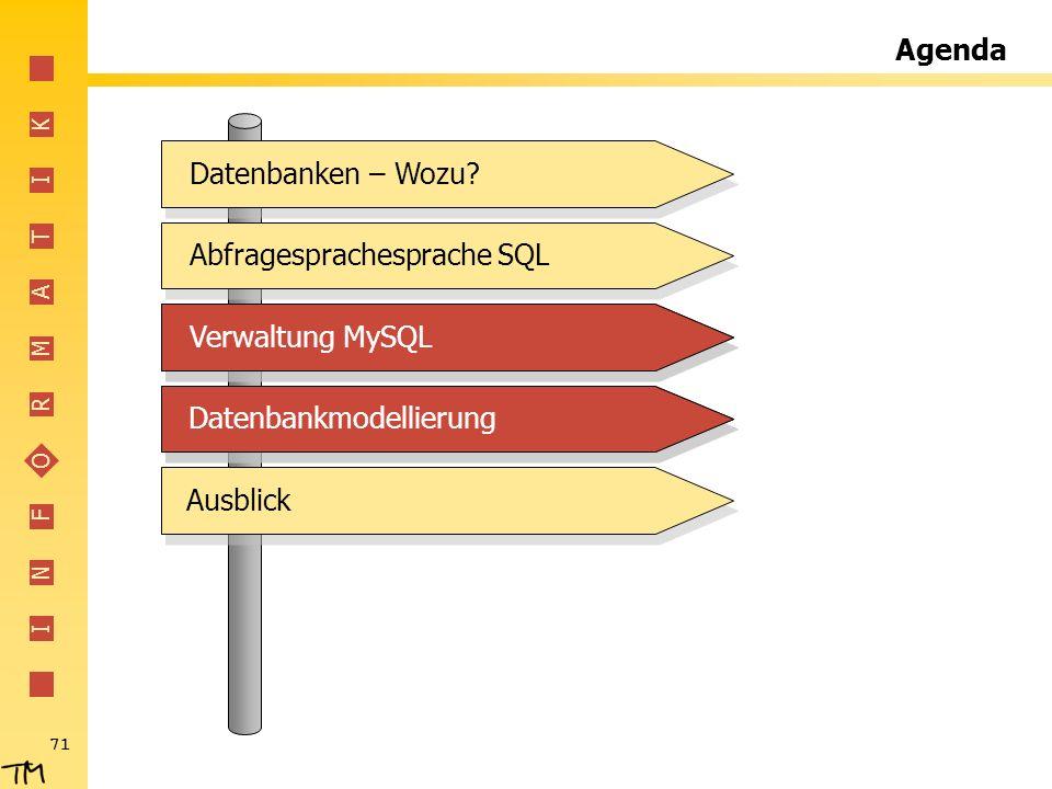 I N F O R M A T I K 71 Agenda Abfragesprachesprache SQLVerwaltung MySQLDatenbankmodellierungDatenbanken – Wozu?Verwaltung MySQLDatenbankmodellierungAu
