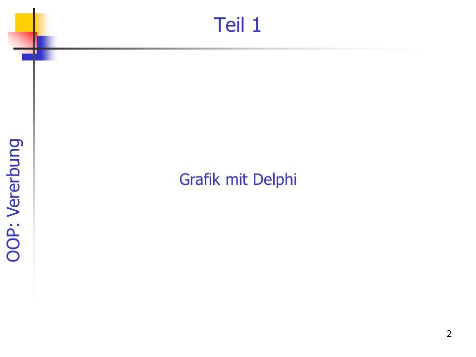 OOP: Vererbung 73 Zeichnen des Polygons procedure TPolygon.paint; begin with canvas do begin Pen.Style := pssolid; // Pen.Mode := pmNotXor; Pen.Color := clblack; brush.color := FFarbe; //Polygon zeichnen polygon(SPunkte); if Fmarkiert then zeichneMarke; //Markierungsrechteck end;