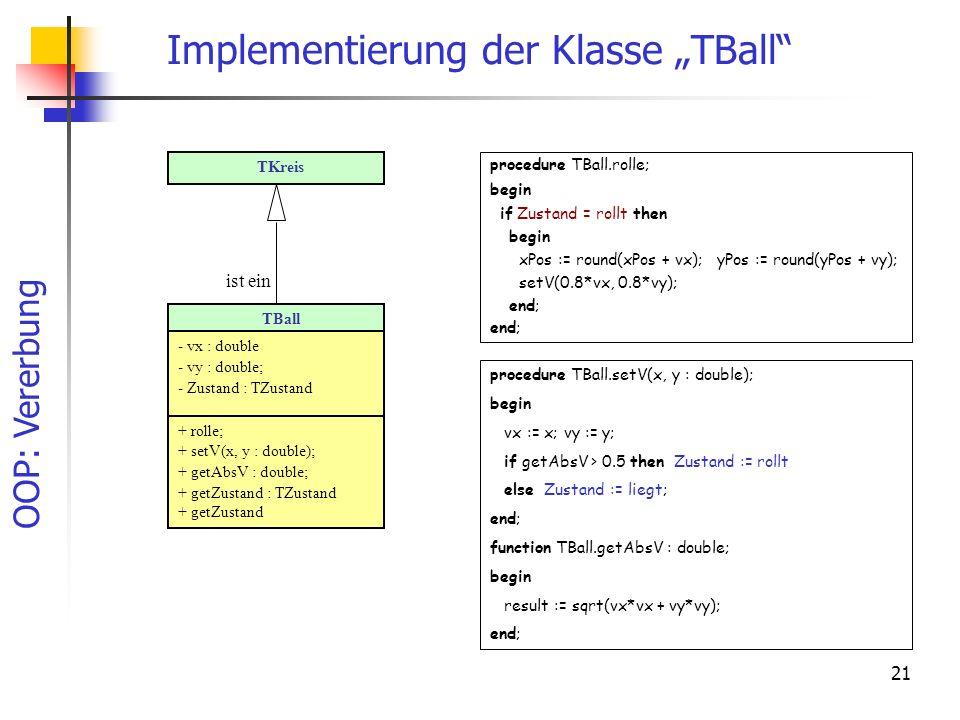 OOP: Vererbung 21 Implementierung der Klasse TBall procedure TBall.setV(x, y : double); begin vx := x; vy := y; if getAbsV > 0.5 then Zustand := rollt else Zustand := liegt; end; function TBall.getAbsV : double; begin result := sqrt(vx*vx + vy*vy); end; procedure TBall.rolle; begin if Zustand = rollt then begin xPos := round(xPos + vx); yPos := round(yPos + vy); setV(0.8*vx, 0.8*vy); end; TBall - vx : double - vy : double; - Zustand : TZustand + rolle; + setV(x, y : double); + getAbsV : double; + getZustand : TZustand + getZustand TKreis ist ein