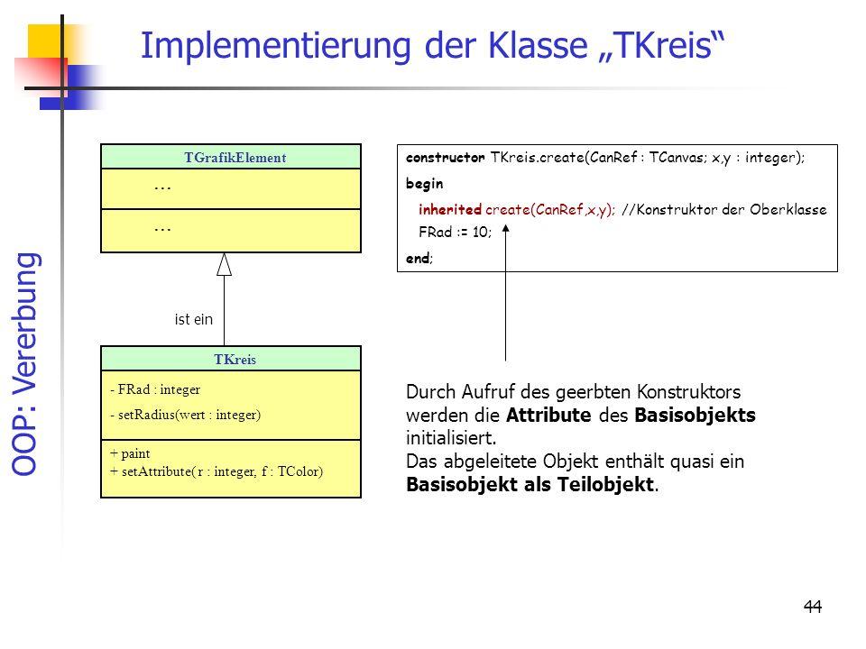 OOP: Vererbung 44 Implementierung der Klasse TKreis TGrafikElement... TKreis - FRad : integer - setRadius(wert : integer) + paint + setAttribute( r :