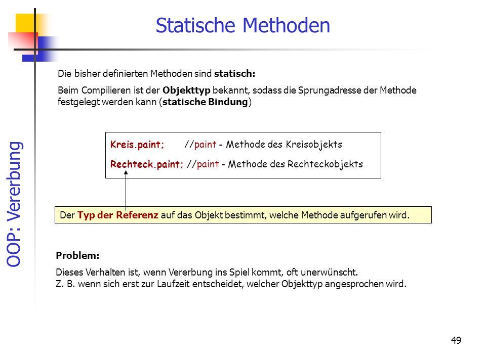 OOP: Vererbung 49 Statische Methoden Kreis.paint; //paint - Methode des Kreisobjekts Rechteck.paint; //paint - Methode des Rechteckobjekts Der Typ der