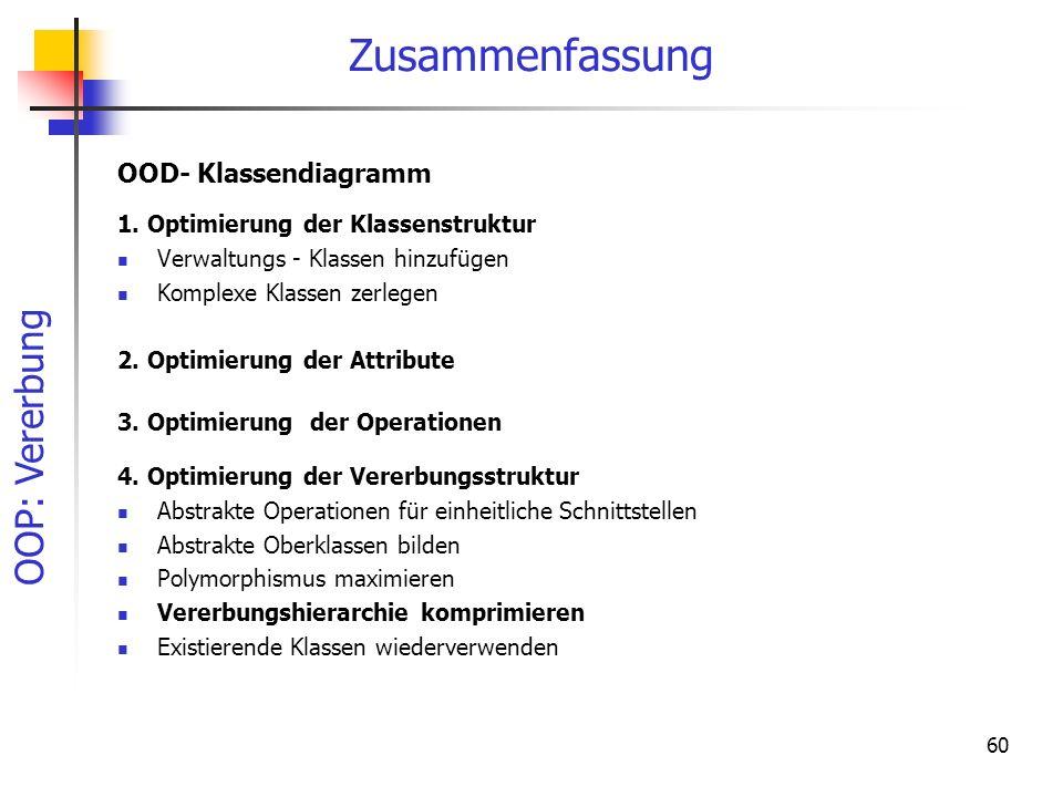 OOP: Vererbung 60 Zusammenfassung 1. Optimierung der Klassenstruktur Verwaltungs - Klassen hinzufügen Komplexe Klassen zerlegen 2. Optimierung der Att