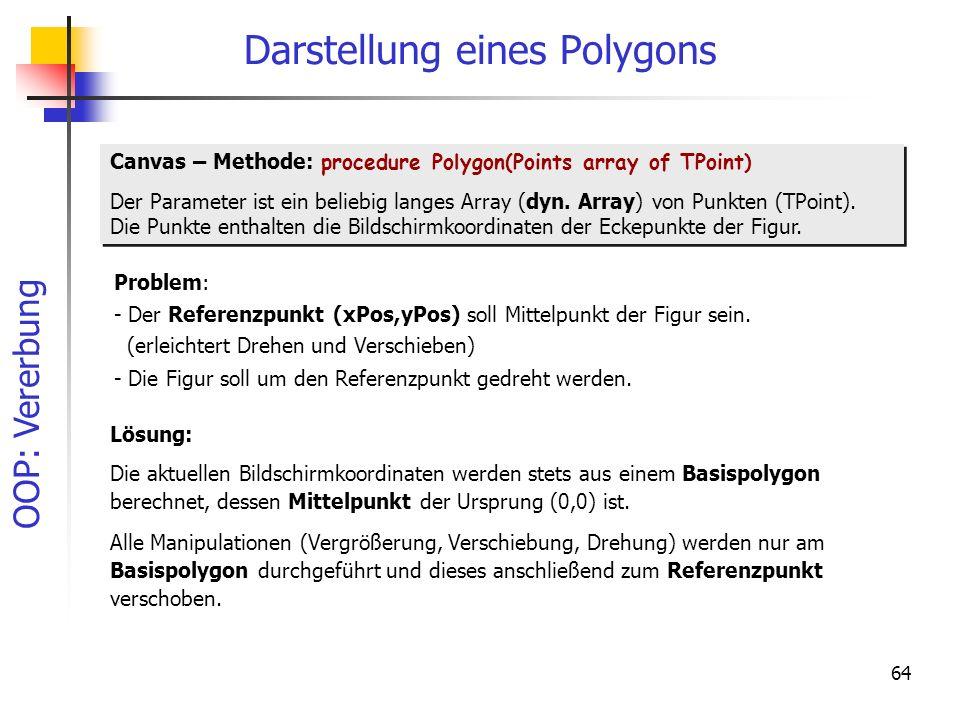 OOP: Vererbung 64 Darstellung eines Polygons Canvas – Methode: procedure Polygon(Points array of TPoint) Der Parameter ist ein beliebig langes Array (
